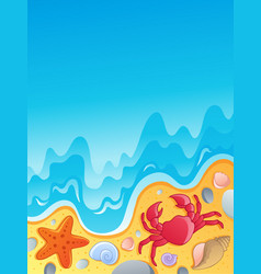 Beach with shells and sea animals 2 vector