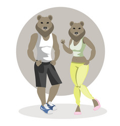 Bears man and woman vector
