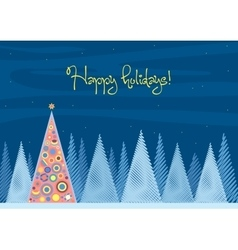Beautiful Chrismas tree winter flat landscape vector