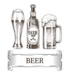 beer bottle and mugs icons set vector image