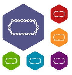 Bicycle chain icons set vector