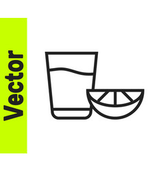 black line tequila glass with lemon icon isolated vector image