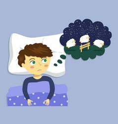 Boy counting sheep to sleep cartoon vector