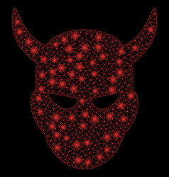 Bright mesh 2d daemon head with flash spots vector