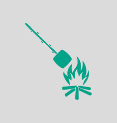 camping fire with roasting marshmallow icon vector image