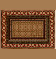 Carpet ethnic design in redbrown shades vector