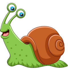 cartoon happy snail isolated on white background vector image