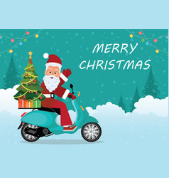 christmas greeting card with christmas santa vector image
