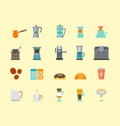 coffee shop color icon set vector image