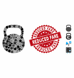Collage weight iron icon with grunge reduced fare vector