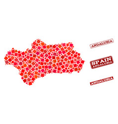 Composition of red mosaic map of andalusia vector