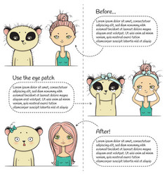 cute make-up three steps instruction girl and vector image