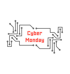 cyber monday with pcb elements vector image