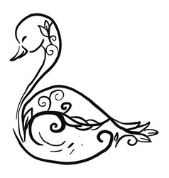decorative swan sketch on white background vector image