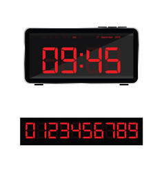 Digital clock and set of glowing numbers in red vector