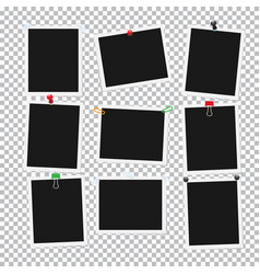 empty black and white attached photos collection vector image