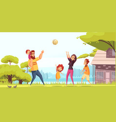 family playing ball cartoon vector image