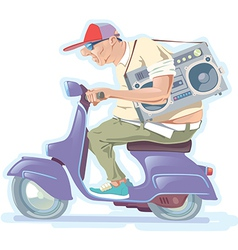 Fat Man on the Scooter vector image