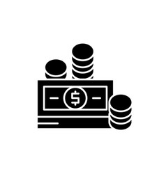 Financial contributions black icon sign on vector