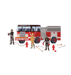 firefighters or firemen wearing protective clothes vector image