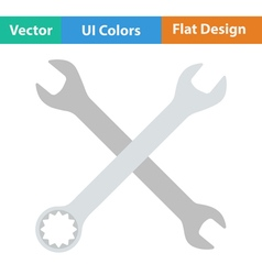 Flat design icon of crossed wrench vector