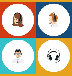 Flat icon center set of help earphone service vector