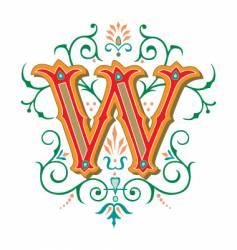Floral letter w vector