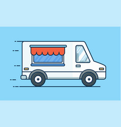 food delivery picnic car truck with food food vector image