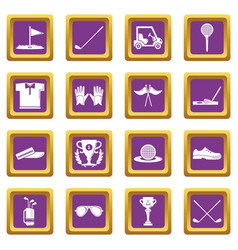 golf icons set purple square vector image