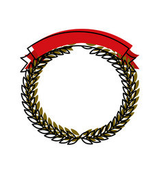 green olive branches forming a circle with red vector image