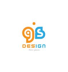 Gs g s orange blue alphabet letter logo vector