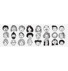 hand drawn human faces doodle set vector image