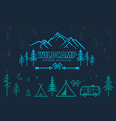 hand drawn sketch camping icons set vector image