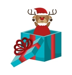 Happy merry christmas reindeer card vector