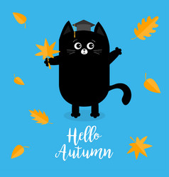 Hello autumn black cat graduation hat academic vector