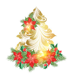 holiday fir tree with poinsettia flower decor vector image