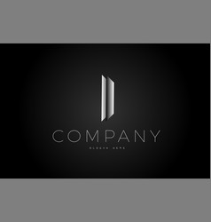 I black white silver letter logo design icon vector