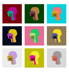 Icons set in flat style pharynx vector