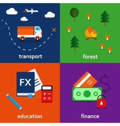 infographic icon set of transport forest education vector image
