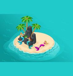 Isometric cartoon island fairy-tale characters vector