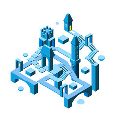 Isometric maze building 3d architectural object vector
