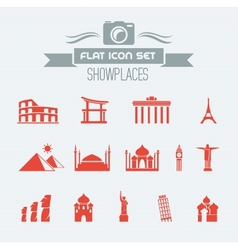 Landmarks Flat Icon Set vector