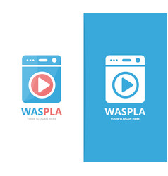 Laundry and button play logo combination vector