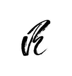 letter r handwritten by dry brush rough strokes vector image