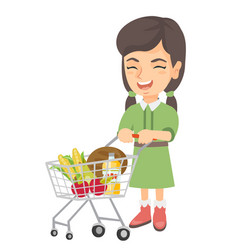 little caucasian girl with her shopping trolley vector image