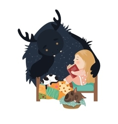 Little girl reading fairy tales to the monster vector