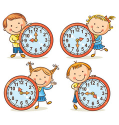 Little kids telling time set vector