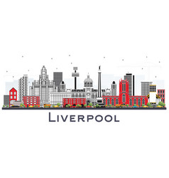 Liverpool skyline with color buildings isolated vector