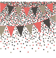 Living coral bunting background with confetti vector