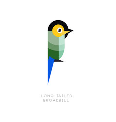 logo template of colorful long-tailed broadbill vector image